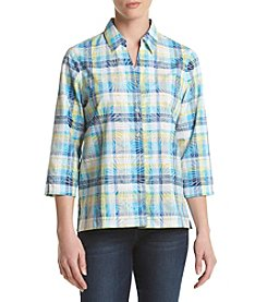 Alfred Dunner® Petites' Burnout Plaid Woven Top