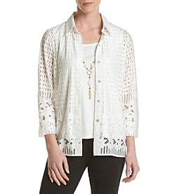 Alfred Dunner® Lace Border Layered Look Woven Top