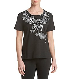 Alfred Dunner® Floral Yoke Knit Top