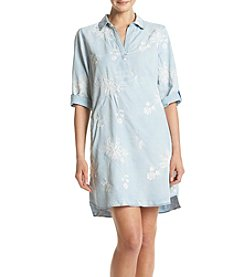 Luxology Embroidered Denim Shirt Dress