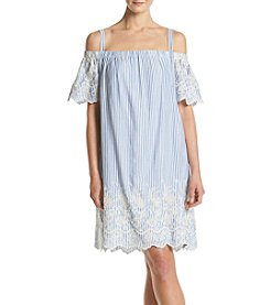 Luxology Railroad Off-Shoulder Denim Dress