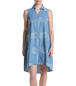 Nina Leonard Embroidered Shirt Dress