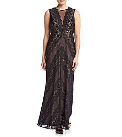 NW Collections Lace Mesh Long Dress