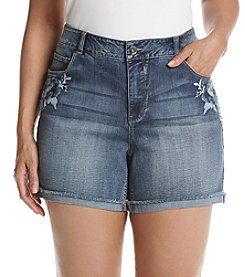 Ruff Hewn Plus Size Embroidered Denim Shorts