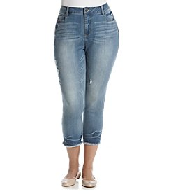 Ruff Hewn Plus Size Fray Hem Crop Jeans