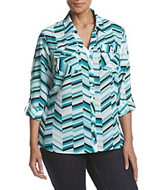Studio Works® Plus Size Print Roll Sleeve Blouse