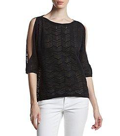 Jeanne Pierre® Pattern Cold Shoulder Sweater