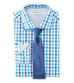 Nick Graham® Men's Fitted Check Dress Shirt With Solid Tie Set