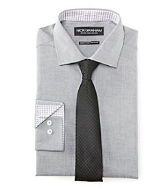 Nick Graham® Men's Fitted Chambray Dress Shirt With Tie Set