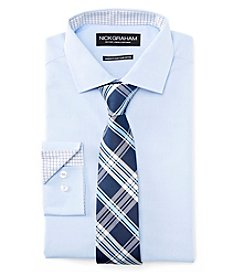 Nick Graham® Men's Fitted Solid Dress Shirt With Plaid Tie Set