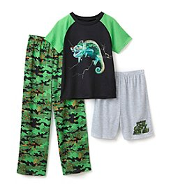 Komar Kids® Boys' 4-16 3-Piece Lizard Camo Sleepwear Set