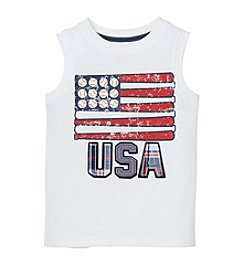 Mix & Match Boys' 2T-4T USA Flag Sleeveless Muscle Tee