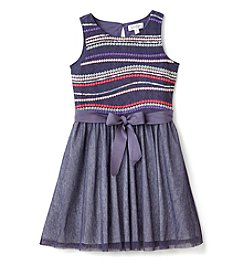 Jessica Simpson Girls' 7-16 Mesh Embroidered Dress