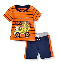 Nannette® Baby Boys Construction Truck Shorts Set