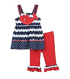 Nannette® Baby Girls' Whale Top And Legging Set