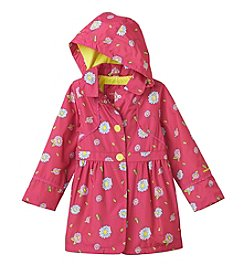 London Fog® Girls' 4-6X Hooded Floral Peacoat