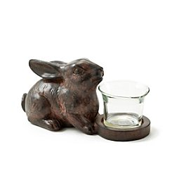 LivingQuarters Sitting Bunny Candle Holder