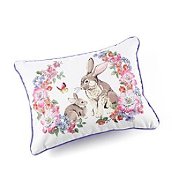 LivingQuarters Floral Bunny Pillow