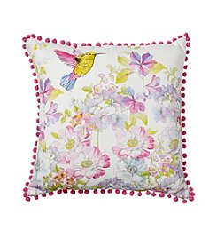 LivingQuarters Botanical Hummingbird Floral Pillow