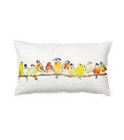 LivingQuarters Botanical Birds On Cord Pillow