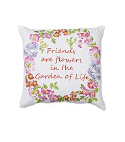 LivingQuarters English Garden Friends Are Flowers Pillow