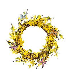 LivingQuarters Botanical Forsythia Wreath With Butterflies