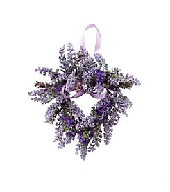LivingQuarters Botanical Lavender Heart-Shaped Wreath
