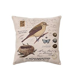 LivingQuarters English Garden Bird Pillow