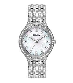 Bulova® Women's Crystal Stainless Steel Watch With Crystals On Dial, Bezel And Bracelet