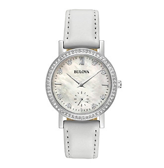 Bulova® Women's Crystal White Leather Strap Watch With M