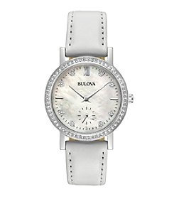 Bulova® Women's Crystal White Leather Strap Watch With Mother of Pearl Dial And Crystal Bezel