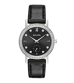 Bulova® Women's Crystal- Black Leather Strap Watch With Black Dial And Crystal Bezel