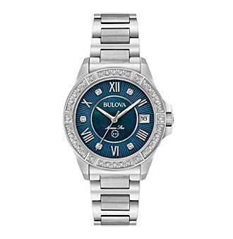 Bulova® Women's Marine Star In Stainless Steel With Blue
