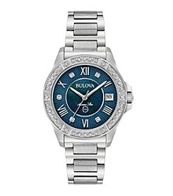 Bulova® Women's Marine Star In Stainless Steel With Blue Dial And Bezel Watch