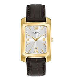 Bulova® Classic Men's Rectangular Watch With Crocodile Grain Leather Strap