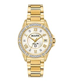 Bulova® Marine Star Goldtone With White Mother of Pearl Diamond Watch
