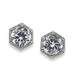 Lauren Ralph Lauren Headlines Clear Hexagon Stud Pierced Earrings