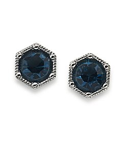 Lauren Ralph Lauren® Headlines Blue Hexagon Stud Pierced Earrings