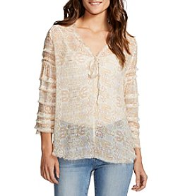 William Rast® Tie Front Peasant Top