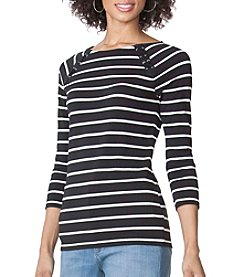 Chaps® Striped Lace-Up Tee