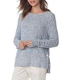 Chaps® Buttoned-Side Marled Sweater