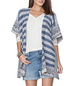 Chaps® Striped Open-Front Poncho
