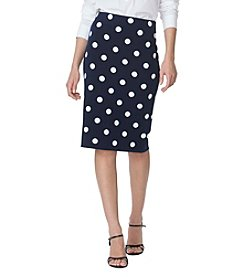 Chaps® Polka-Dot Straight Skirt