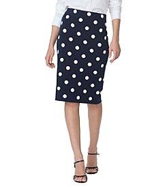 Chaps® Polka-Dot Straight Skirt