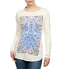 Lucky Brand® Watercolor Hamsa Top
