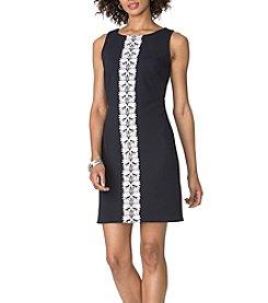 Chaps® Jacquard Lace Trim Dress