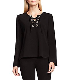 Vince Camuto® Bell Sleeve Lace Up Top
