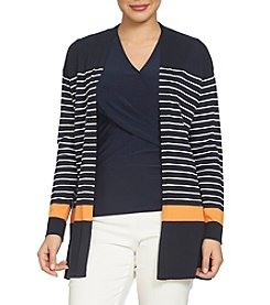 Chaus Striped Color Block Cardigan