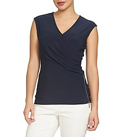 Chaus Solid Wrap Top
