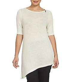 Chaus Asymmetrical Embellished Neck Top